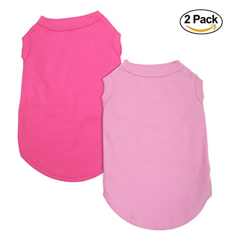 EXPAWLORER 2Pcs Dog Shirt with Different Color - Breathable Dog T-shirt Soft Custom Clothes for Small Dogs, Pink & Rose Red