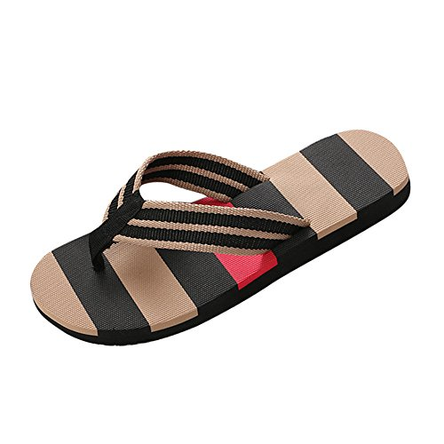 Sunyastor Men's Summer Shoes Mixed Colors Sandals Male Slipper Stripe Indoor Or Outdoor Comfortable Beach Flip Flops Sandals Black