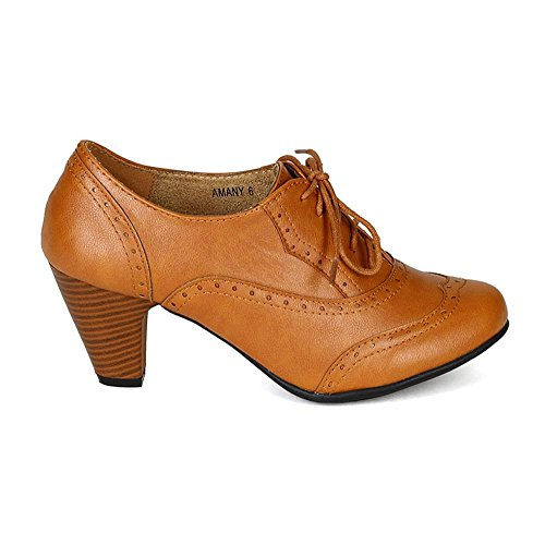2b4d851c3a Image of Women's Cuban Chunky Heel Lace-up Ankle Booties Oxford Shoes Tan 7