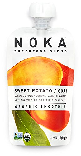 NOKA Superfood Blend, Organic Fruit & Veggie Smoothie Squeeze Pack, Sweet Potato Goji, 4.22 Ounces, (Pack of 6 pouches) (Sweet Fruit Soy)