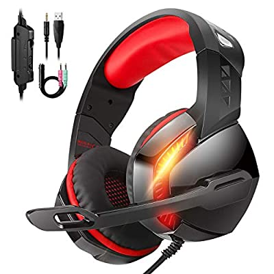 Gaming Headset for PS4,Xbox One,PC, Laptop, Mac, Nintendo Switch,PHOINIKAS 3.5MM PS4 Headset with Mic, Over Ear Headset,Noise-Canc
