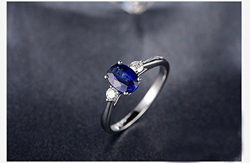 Solid 18k white gold promise ring, 0.18ct SI-H Diamond engagement ring,1.03ct Oval blue Sapphire,Prong - 0.18 Ct Si Diamond