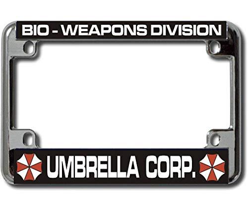 Umbrella Corp Bio Weapons Chrome Motorcycle License Plate - License Plate Umbrella