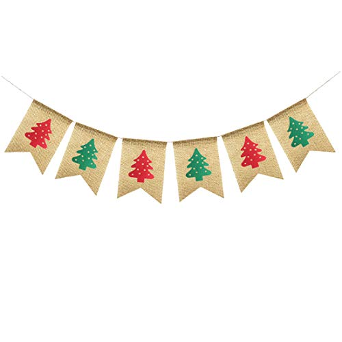 Uniwish Burlap Christmas Trees Banner Garland Xmas Decorations Home Fireplace Hanging Bunting Vintage Rustic Photo Props]()