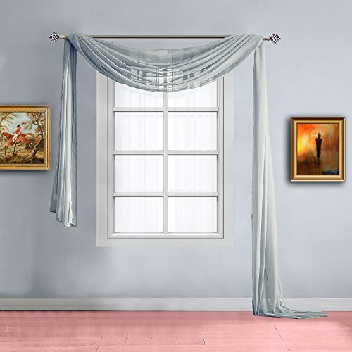 Warm Home Designs Extra Long Grey Silver Sheer Window Scarf. Valance Scarves are 56 X 216 Inches in Size. Great As Window Treatments, Bed Canopy Or for Decorative Project. Color: Silver 216