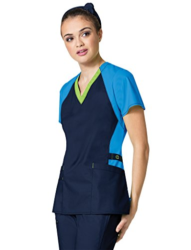 erflex Plus Trinity Color Block V-Neck Women's Scrub Top, Gap/MBL/NVY, 2X-Large ()