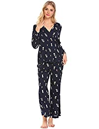 Womens Pajamas Cat Print Long Woven PJ Set Nightwear