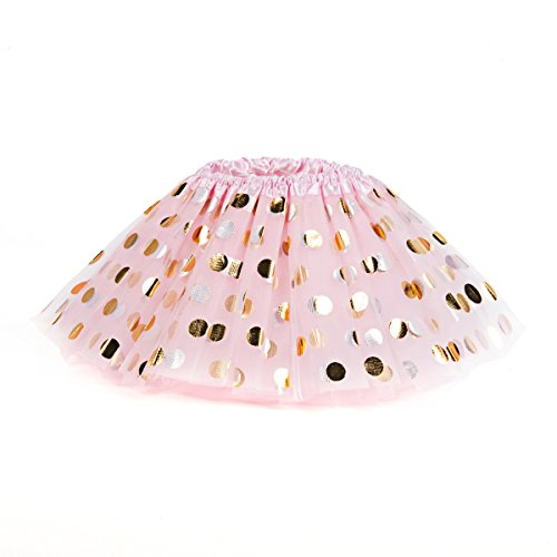 Girls Polka Dot Tutu Skirts Glitter Tulle Skirts Dance Dress (Polka Dot Tulle Skirt)
