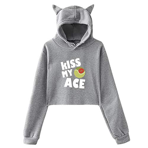 (Women Kiss My Ace 2017 Funny Tennis Pullover Hoodie Sweatshirt Crop Top with Ear Unique Cotton Shirts)