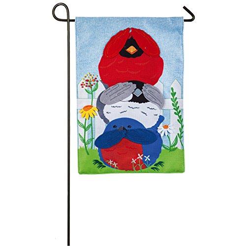 Portly Birds Garden Flag - Evergreen Portly Birds Outdoor Safe Double-Sided Burlap Garden Flag, 12.5 x 18 inches