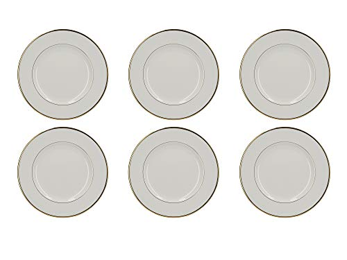 (Mikasa Cameo Gold Plates with Decorative Gold Rims, Porcelain, White, 22 cm (Set of 6 Christmas Side Plates) )
