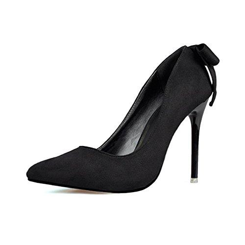 Cybling Tacones De Aguja De Moda Bowtie Vestido Bombas Para Mujer Slip On Punta Estrecha Zapatos De Boda Negro