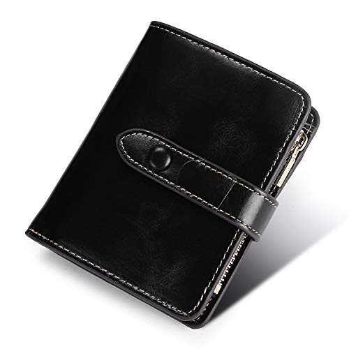 Yafeige Women's RFID Blocking Small Compact Leather Wallet Trifold Ladies Zipper Pocket Wallet Coin Purse(Black)