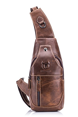 WeeDee Hombre de cuero genuino Sling bolsas de pecho hombro Messenger Bag negocio informal Crossbody bolsa (Marrón) Marrón
