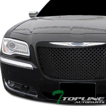 Topline Autopart Black Mesh Front Hood Bumper Grill Grille ABS For 11-14 Chrysler 300 / 300C