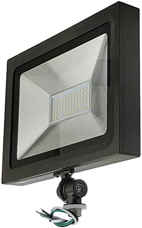 LEDwholesalers Series-5 Ultra-Slim 50W LED Outdoor Security Flood Light Fixture with 1 2 Threaded Knuckle Mount, UL-Listed, Warm White 3000K, 3779WW