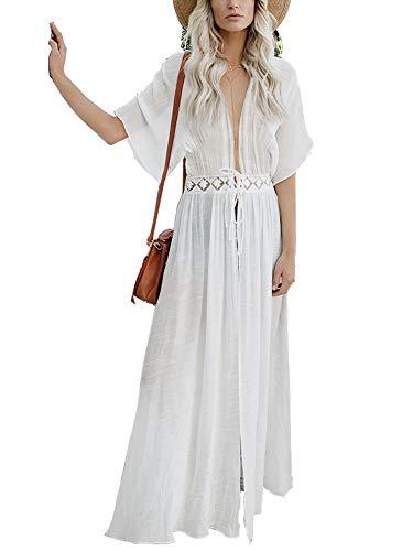RoseLily Women's Boho Maxi Swimsuit Cover Up Cardigan Cotton Crochet Sheer Bikini Bathsuit Beach Coverups Swimwear White