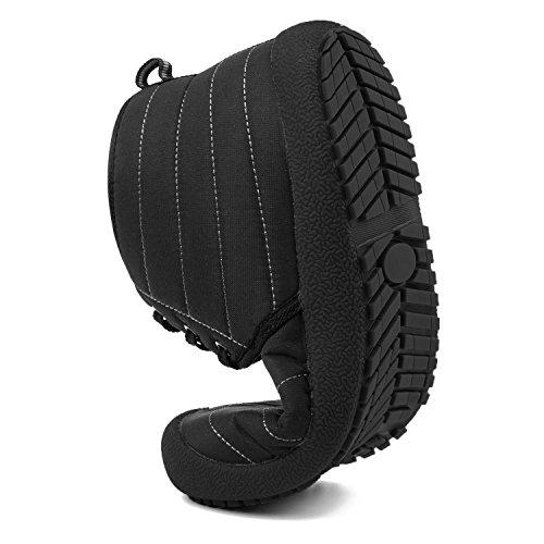JOINFREE Unisex Warm Plüsch Futter Slip On Flat Ankle Schnee Stiefel Winter Warme Schuhe Strap_dark Schwarz