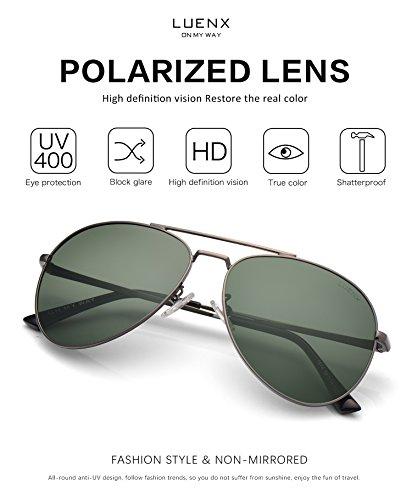 b330f29917 LUENX Aviator Sunglasses Polarized Men Women Accessories Metal Frame UV 400  60MM (17-Grey Green