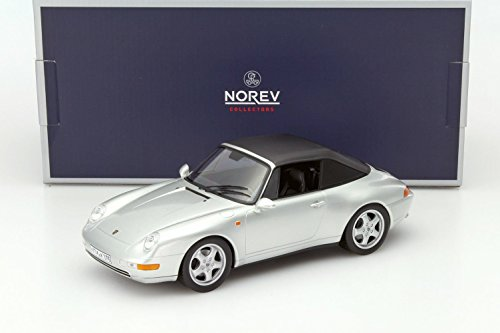 - NEW 1:18 W/B NOREV COLLECTION - SILVER 1993 PORSCHE 911 CABRIOLET Diecast Model Car By Norev