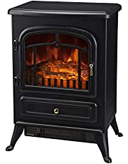 """HOMCOM 16"""" Free Standing Electric Fireplace Portable Adjustable Stove with Heater Wood Burning Flame 750/1500W Black"""