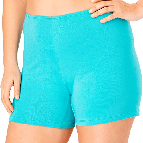 Comfort Choice Women's Plus Size 2-Pack Stretch Cotton Boxer Boyshort - Aqua Blue Pack, 9