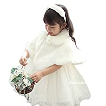 Spritech(TM) Baby Girls Winter Bridesmaid Ball Gown Party Tutu Dress Wool Shawls White S
