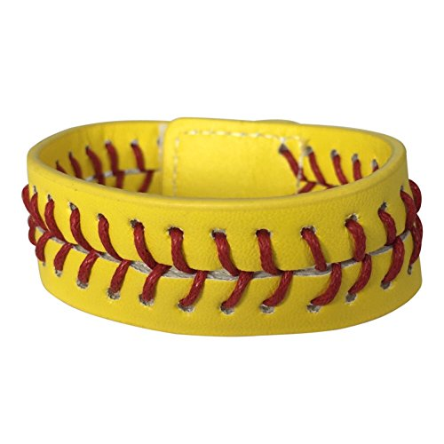 Designer Leather Earrings (Sports Theme Faux Leather Wrap Bracelet (Softball))