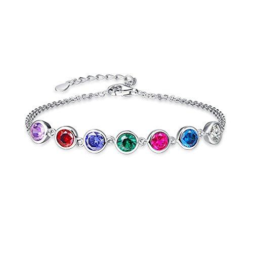 Gemstone Multi Colored Bracelet (BONLAVIE Solid 925 Sterling Silver Multi-Colored Gemstone Cross Link Double Chain Bracelet for Women)