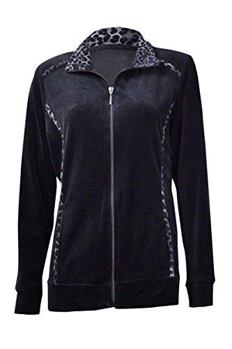 Jacket Animal Trim (Style & Co. Women's Animal-Trim Velour Zip Jacket (PXL, Deep Black))