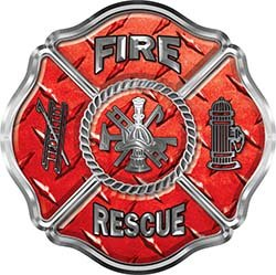 Interior Wall Design Traditional Fire Rescue Fire Fighter Maltese Cross Sticker / Decal in Red Diamond ()