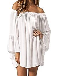Womens Sexy Off Shoulder Chiffon Boho Ruffle Sleeve Blouse Mini Dress