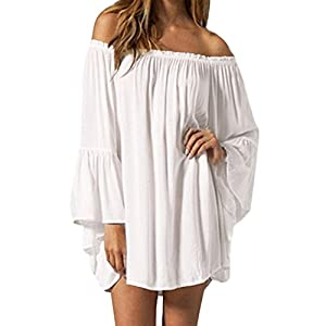 ZANZEA Women's Sexy Off Shoulder Bohemian Mini Dress Chiffon Ruffle Sleeve Tunic Blouse