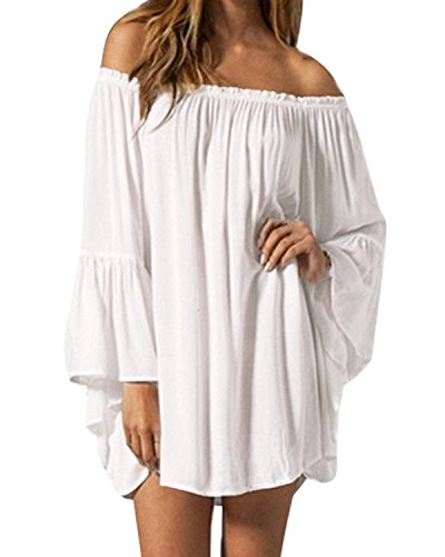(ZANZEA Women's Sexy Off Shoulder Chiffon Boho Ruffle Sleeve Blouse Mini Dress White L)