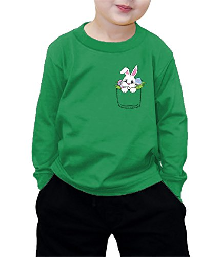 HAASE UNLIMITED Easter Bunny in Pocket Long Sleeve Shirt (Kelly, (Easter Green T-shirt)