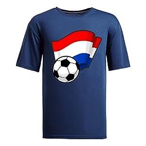 Custom Mens Cotton Short Sleeve Round Neck T-shirt,2014 Brazil FIFA World Cup Soccer Flags navy