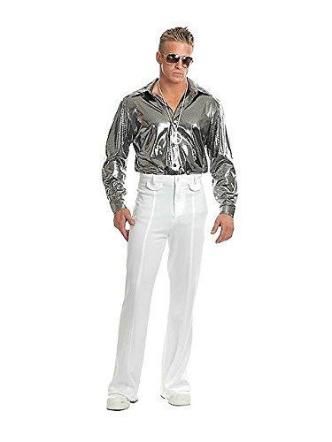 [Charades Men's Silver Nail Head Disco Shirt, Silver, X-Large] (Wild Man Costumes)