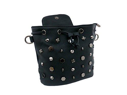 HEAD Gothic Punk Long Bag CRYSTAL Mini leather GOTHX SKULL Rock Black Strap Goth Backpack Vegan 5Oq6SvW