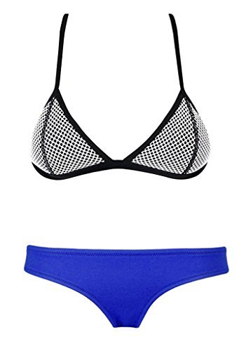 MUXILOVE Bright Mesh Wet Suit Neoprene Bikini Swimsuit Triangle Top Swimsuit(FBA) (S(US0-2), Dark Blue Floral)