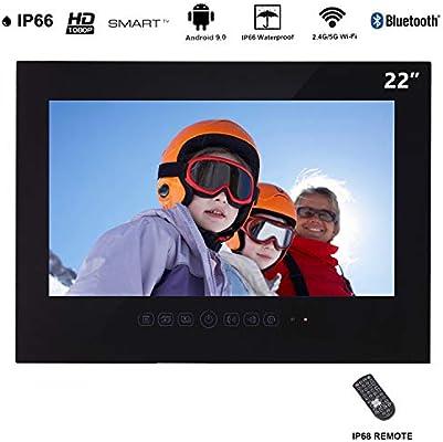Haocrown Smart TV LED para baño IP66 Impermeable Sistema Android Televisor con Pantalla táctil y Wi-Fi Incorporado (22 Pulgadas, Negro): Amazon.es: Electrónica