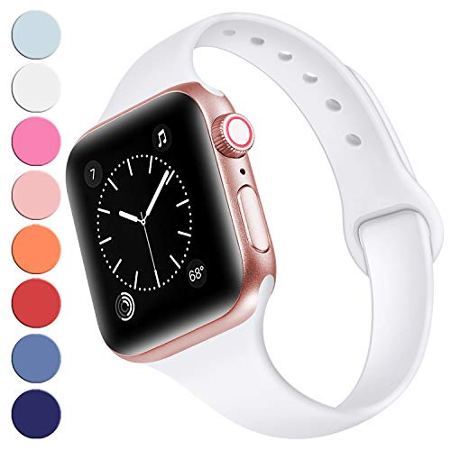 (R-fun Slim Bands Compatible with Apple Watch Band 40mm Series 4 38mm Series 3/2/1, Soft Silicone Sport Strap Wristband for Women Men Kids with iWatch, White)