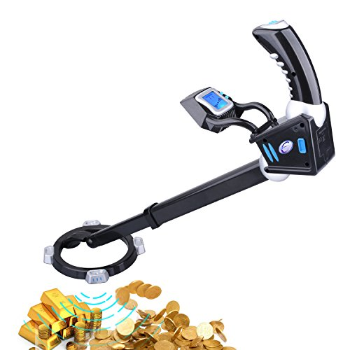 Kuman Metal Detector with Adjustable LCD Digital Display and Search Coil, Two-colors BackLight Pin Pointer, Extended Tube for Treasure Hunting KW33 (Metal Detector with Adjustable LCD)