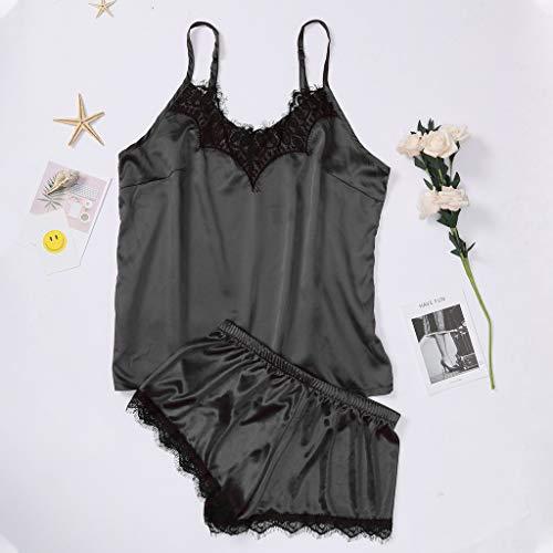 Effulow Sexy Lingerie for Women Lace Sling Underwear Sleepwear 2PC Black ()