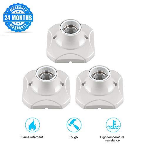 E26/E27 Lamp Holder, Porcelain Lampholder Outlet Box Mount, One-Piece Keyless Medium Base Ceiling Receptacle Lamp Holder, Easy Installation,White Light Sockets (3 Pack)