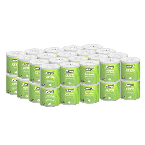 Marcal Toilet Paper 100% Recycled - 1 Ply, White Bath Tissue, 1000  Sheets Per Roll - 40 Individually Wrapped Rolls Per Case Green Seal Certified Toilet Paper (1 Ply Toilet)