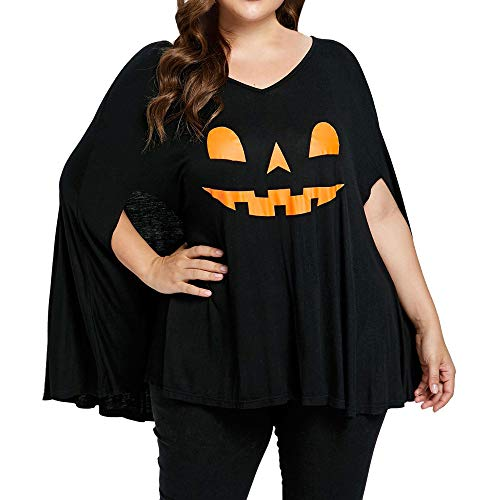 CCatyam Plus Size Blouse for Women, Halloween Batwing Sleeve Pumpkin Head Print Lamp Poncho T-Shirt ()
