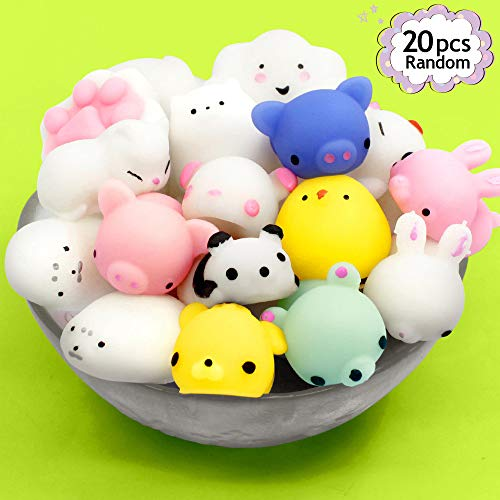 Mochi Squishy Toys 20 Pcs Mini Squishy Animal Squishies Party Favors for Kids Kawaii Squishy Squeeze Toy Cat Unicorn Squishy Stress Relief Toys for Adults Birthday Favors for Kids Pinata -