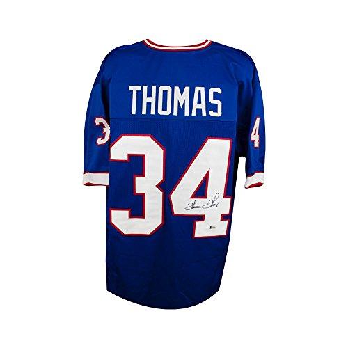 Thurman Thomas Autographed Buffalo Bills Custom Blue Football Jersey - BAS COA