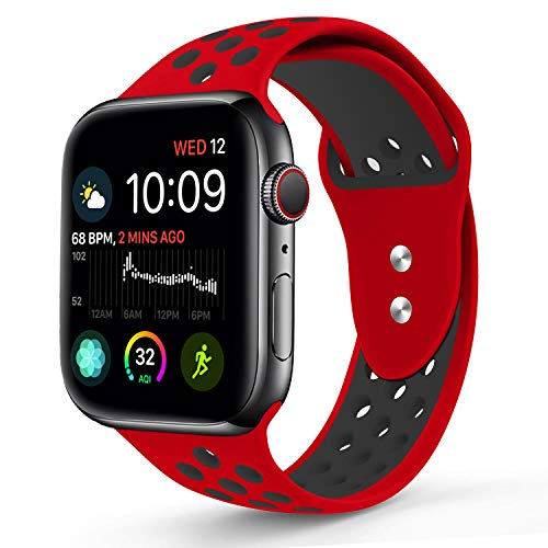 RUOQINI Compatible for Apple Watch Band 42MM, Dual-Color Soft Silicone Sport Replacement Band Compatible for Apple Watch Series 3, Series 2, Series 1 (M/L Size in Red/Black Color)