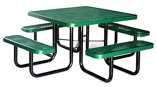 """46"""" Expanded Metal Square Picnic Table (Green) !"""
